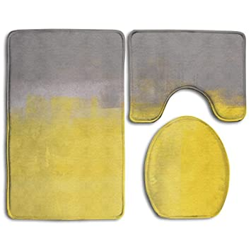 Badezimmer Teppich Grau Und Gelb Grunge Street Style Malerei Pinsel Print  Ombre Design Bild 3