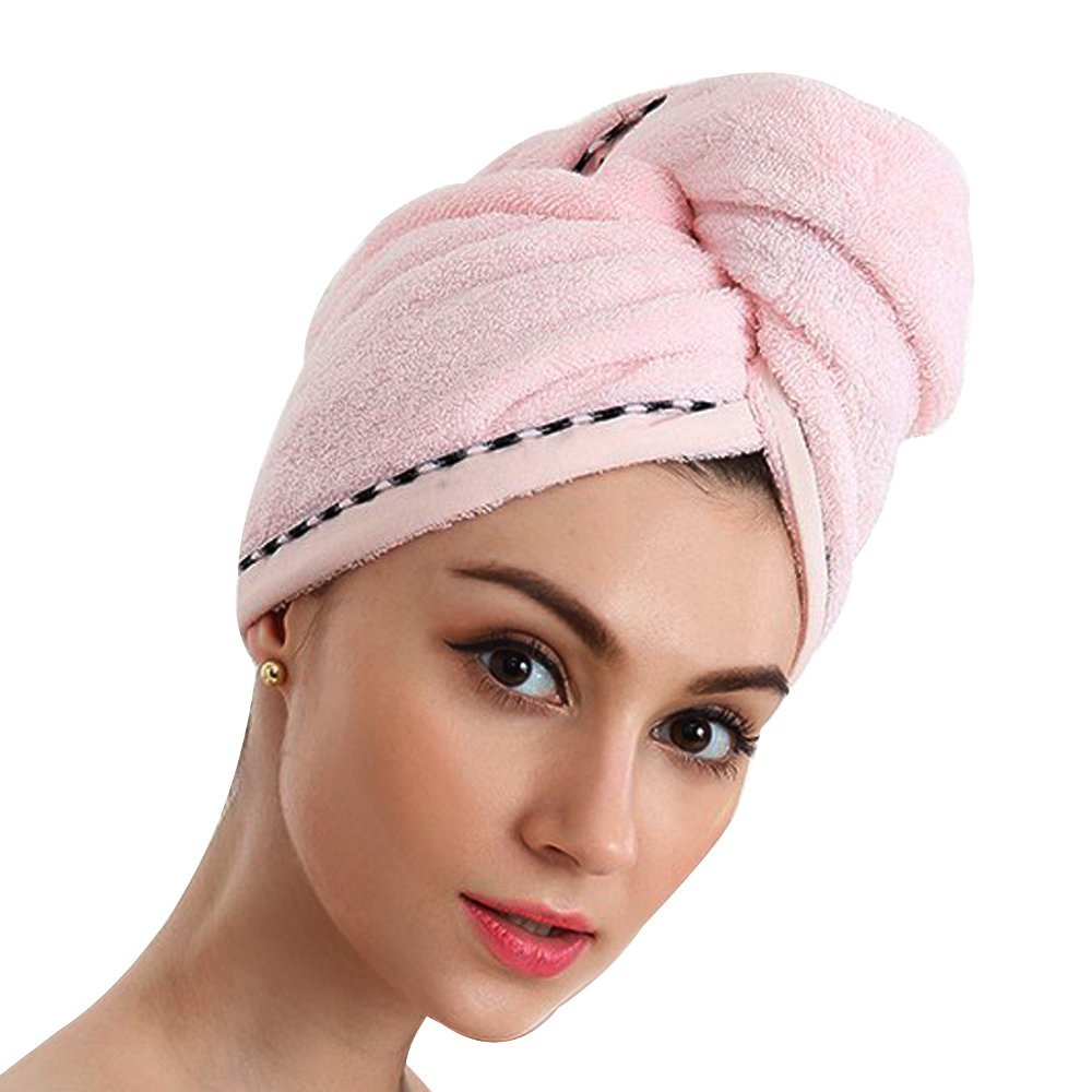 100% Cotton Hair Towel Wraps for Women Turban Hats Bath Headwrap Absorbent Dry Hair Caps for Dying Hair (Blue) Hipier