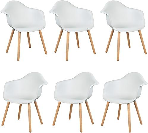 eSituro SDC0014-6 Pack de 6 Sillas de Comedor Silla de Oficina con Reposabrazos Silla Cocina PP Diseño Nórdico Patas Madera Blanco: Amazon.es: Hogar
