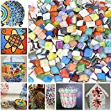 Bister 300piecs/16oz Crystal Glass Mosaic Tiles Stained Glass Assorted Colors and Shapes for Art Craft and Home decoration