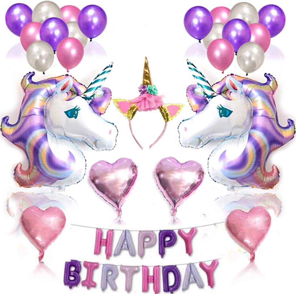 Unicorn Birthday Balloons Party Decoration Happy Party Supplies Bunting Banner Tissue Paper Pink Flowers Garland for Girls Kids Child Lovely Theme (Pink Purple) The Fellie
