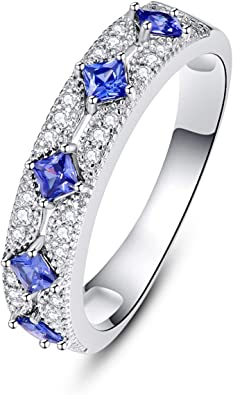 Sterling Silver 925 Eternity Ring Engagement Wedding Band W//Princess Cut Simulated Sapphire Cubic Zirconia CZ