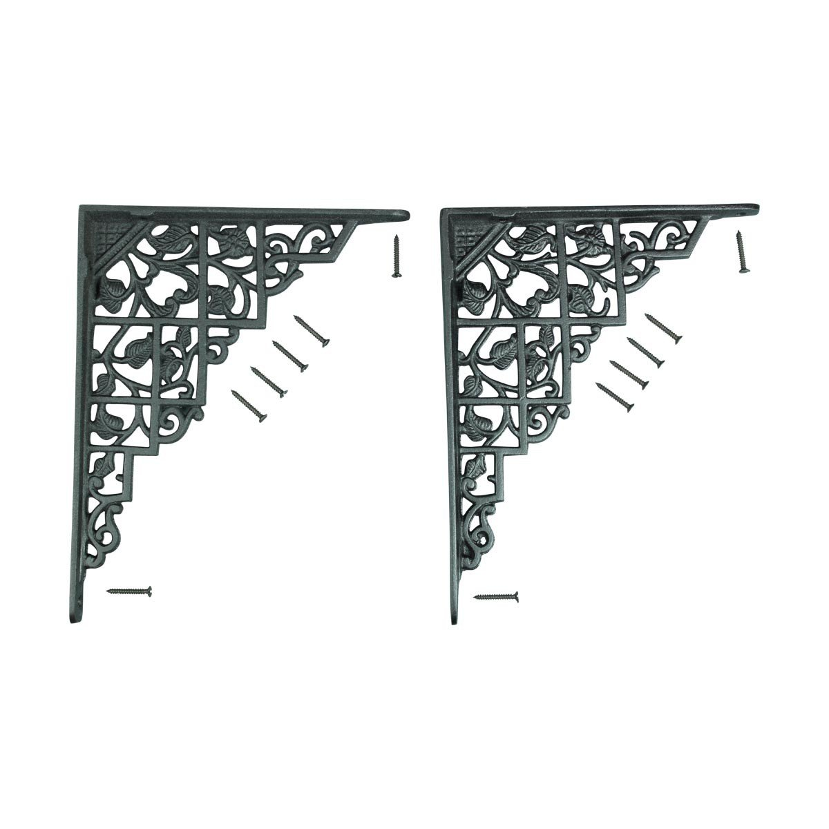 Pair Shelf Brackets Black Aluminum 7'' X 8 3/4'' | Renovator's Supply