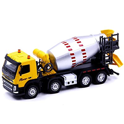 Xolye Alloy Tank Car Model 2 Colors Optional Cement Concrete Toy Car Simulation Sound and Light Engineering Car Metal Anti-Fall Boy Toy Car Sliding Inertial Transport Toy Car (Color : Yellow): Home & Kitchen
