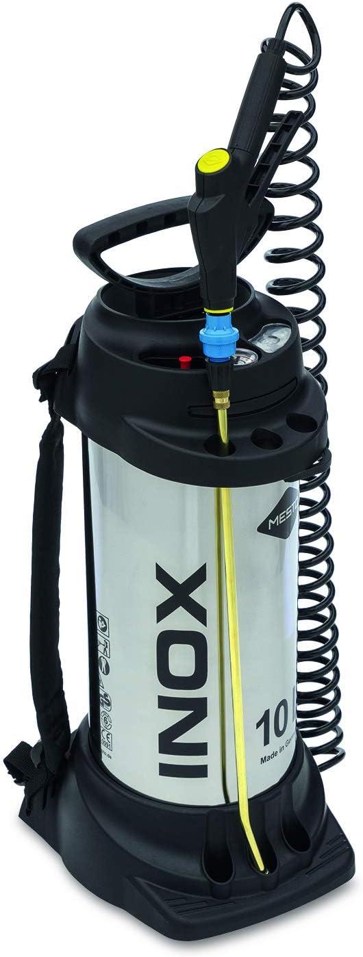 Mesto 3615G - Compresión pulverizador INOX, 10 L, con regulador de presión, Plata