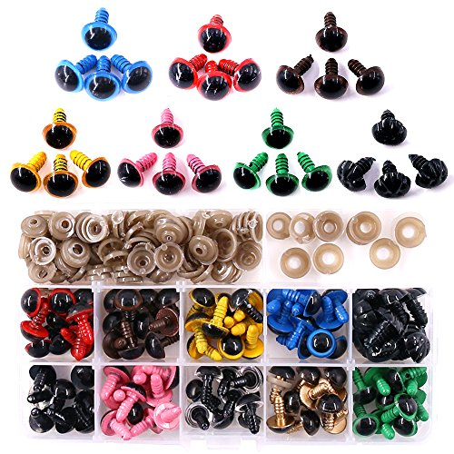 Yellow Animal Eyes - ◕‿◕ Swpeet 90pcs 12MM 9 Color Plastic Safety Eyes and 10Pcs 12MM Noses Set for Doll, Puppet, Plush Animal Making and Teddy Bear