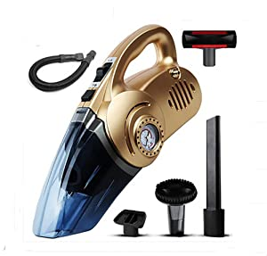 LEAJIA Car Vacuum Cleaner with Tire Inflator,Tire Pressure Gauge,Floodlight, 12V Multi-Function 4 in 1 Dry Wet 120W Handheld Vacuum