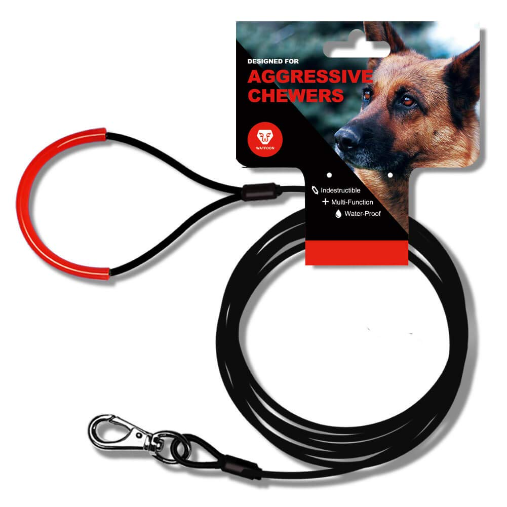 WATFOON Metal Dog Leash for Heavy Duty Dogs,Strong Chew Resistant Braided Steel Cable Designed for Aggressive Chewers 2.6/3.3/4.0/4.3/5.0/5.3/6.0ft (6.0ft, Black Red) by WATFOON