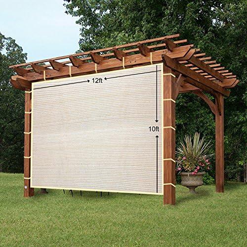 easy2hang Durable Parasol privacidad Panel con cuerda para pérgola, Side lámpara de pared para Instant toldo o Gazebo, tela, Wheat, 12x10