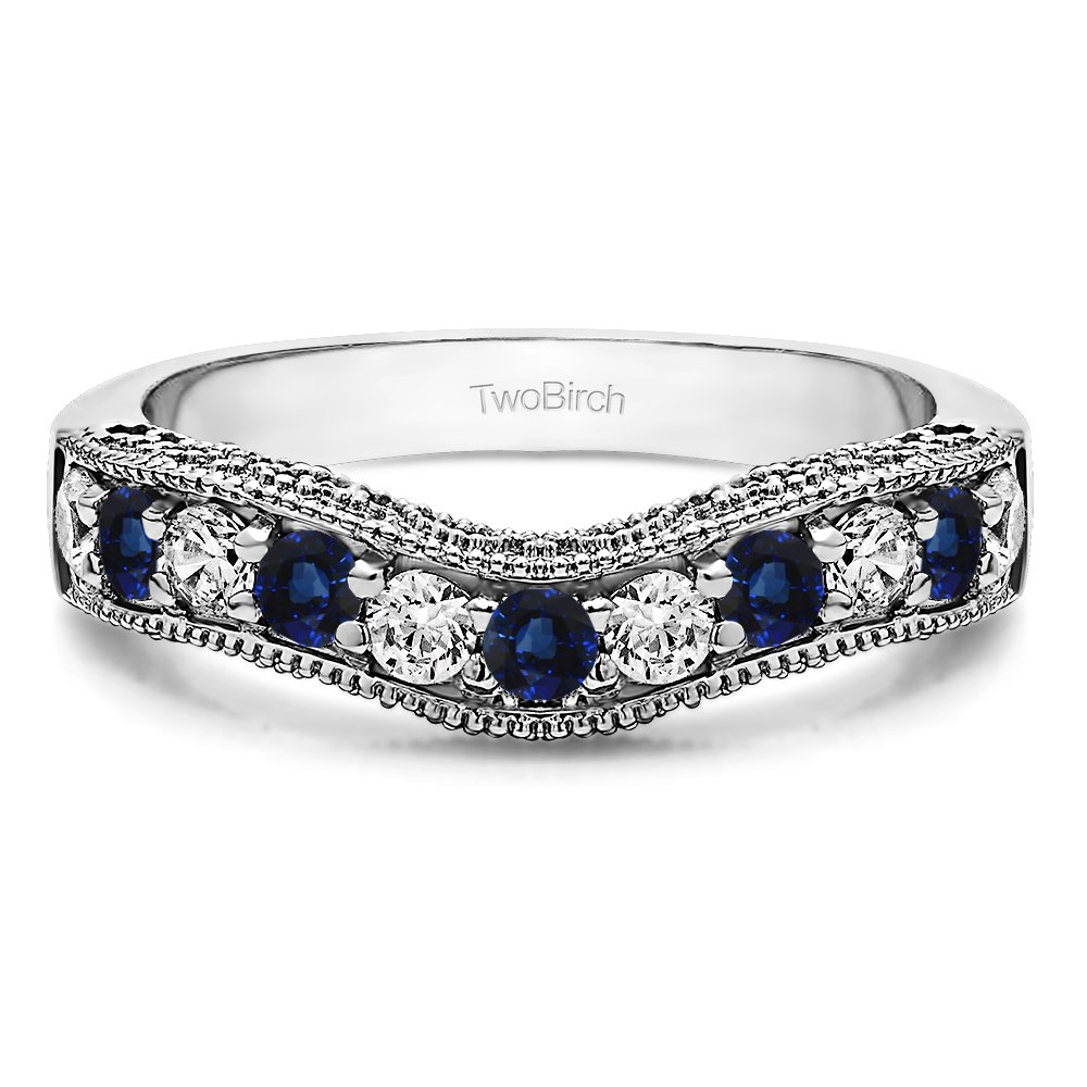 Diamonds (G-H,I2-I3) and Sapphire Vintage Wedding Band In Silver(0.3Ct)Size 3 To 15 in 1/4 Size Interval