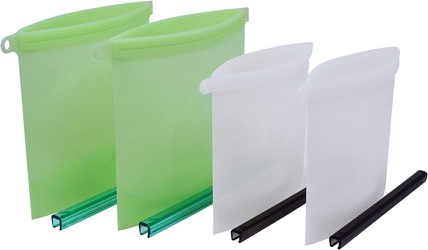 Exultimate Leak proof Silicone Reusable Food Bag Reusable Airtight Bags Dishwasher Safe for Everyday Use, Set of 4