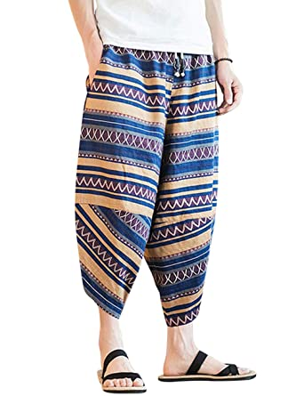 NANJZX Hombre Pantalones de Harén Boho Baggy Yoga Aladdin ...