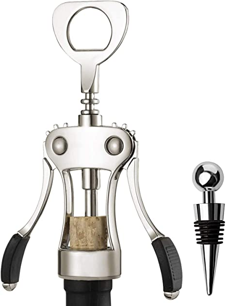 Multifunctional Wine Corkscrew For Cork Stoppered and Beer Cap Bottles Resuable Wine Opener Stainless Steel Wing Corkscrew Wine Bottle Opener Bar and Kitchen Accessories