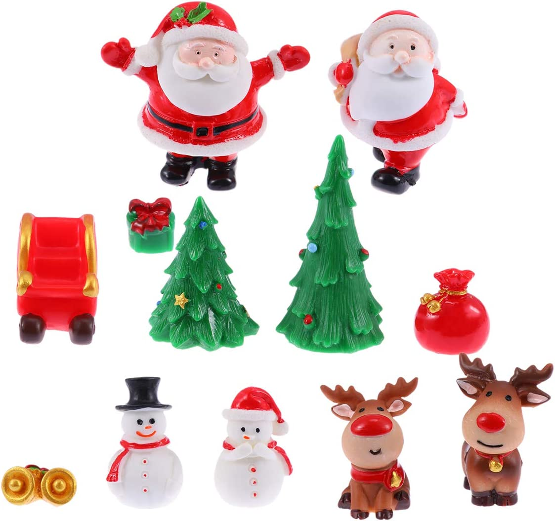 Amosfun Christmas Miniature Ornaments 12PCS Christmas Fairy Garden Accessories Dollhouse Figurines Micro Landscape Home Party Decoration
