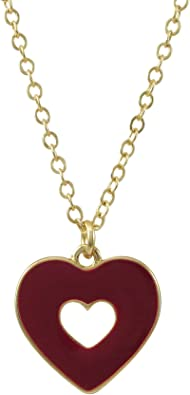 16+2 Extender Ivy and Max Gold Finish Multi-Color Cubic Zirconia Heart Pendant Necklace