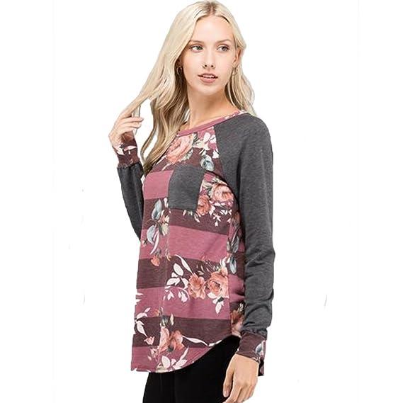 Camisa con Estampado Floral De Manga Larga para Mujer Casual Blusa Suelto Tops L