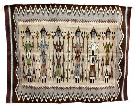 Perry Null Trading La Rose Bia, Yei Rug, Navajo Handwoven, 62