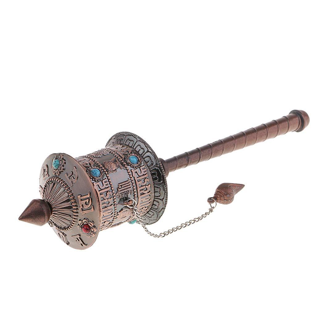 perfk Rueda de Oraci/ón Nepal Mango Religioso Hecho a Mano C/ómodo Om Mani Lat/ón para Regalo Metal Recuerdo