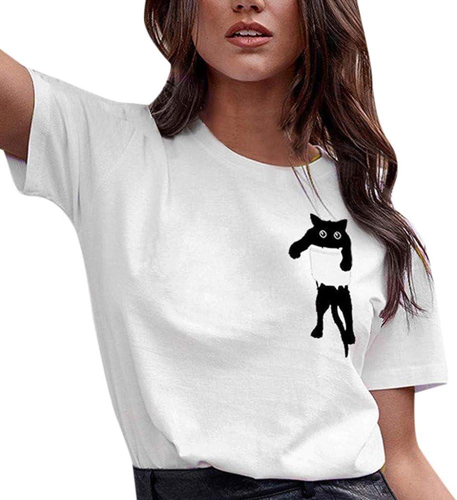 Luckycat Camisetas Tops Estampada para Mascotas de Mujer, Camisa de Verano de Gato Impresión Manga Corta: Amazon.es: Ropa y accesorios
