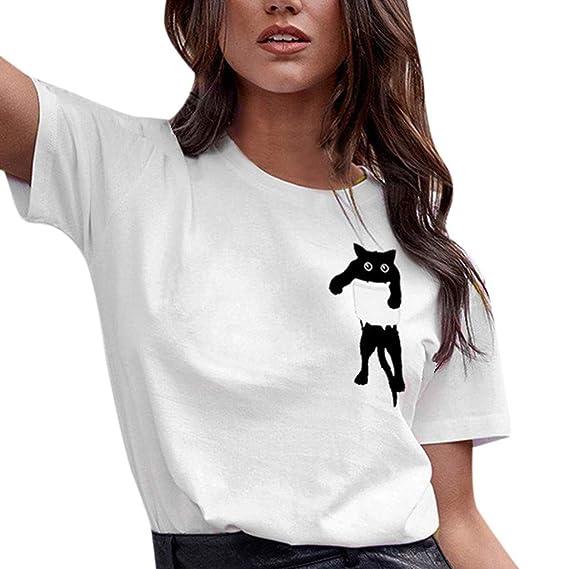 YanHoo Damas Tops Camiseta con Estampado de Gatos Tops Manga Corta ... 577ce7421fe3d