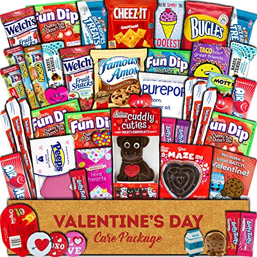 Valentine's Day Care Package (45ct) - Snacks, Chocolates, Candy Gift Box - Assortment Variety Bundle Present for Boy, Girl, Friend, Student, College, Child, Husband, Wife, Boyfriend, Girlfriend, Love (Day Husband For Valentines Presents)