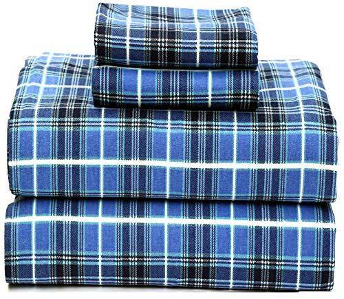 Ruvanti 100% Cotton 4 Piece Flannel Sheets Set - Deep Pocket - Warm - Super Soft