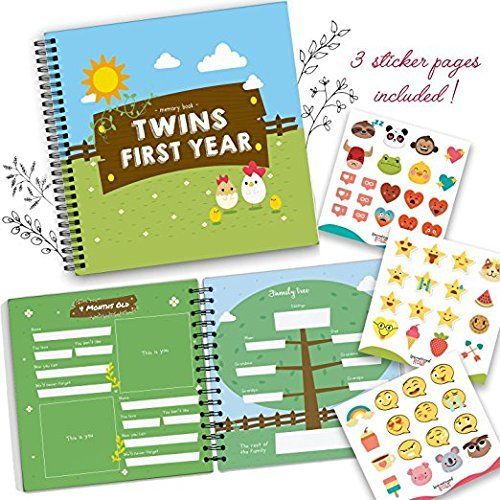 Twins First Year Memory Book - A Gorgeous Baby Keepsake Journal to Cherish Your Twin's First Year Forever! Great Gift That Includes Stickers, Family Tree, Holidays, Letters from Mom & Dad and More