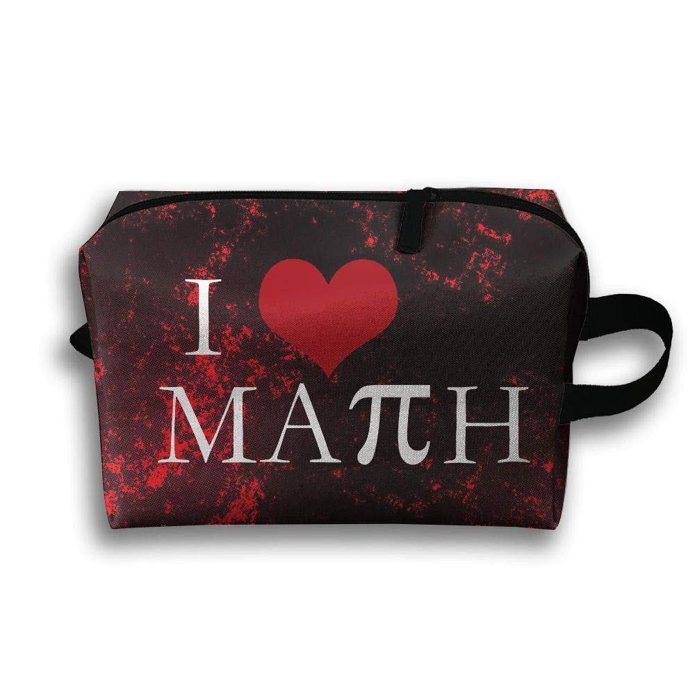 I Love Math With PI Travel Bag Multifunction Portable Toiletry Bag Organizer Storage
