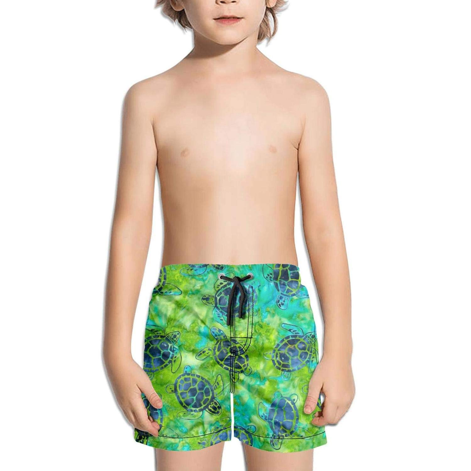Green Watercolor Sea Turtles Shorts Swim for Kid Quick Dry Stretch Board Slim Fit Swimming Tucks Active Graphic