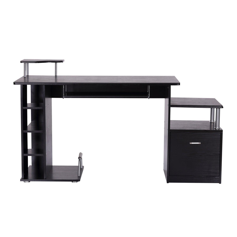 Homcom Bureau pour Ordinateur Table Meuble pc Informatique en MDF Noir