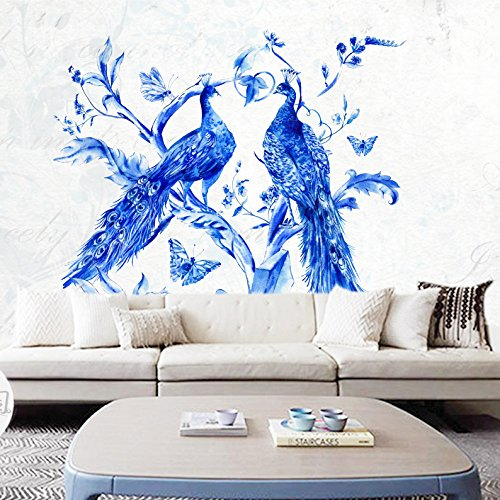 ZEM-PXD Retro Peacock Art Wallpaper Blue And White Porcelain Living Room Bedroom Wallpaper Television Background Wall Murals