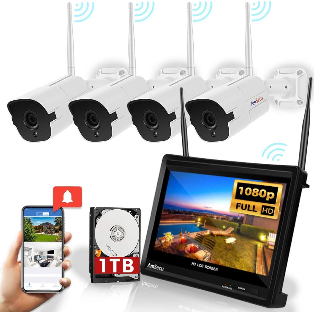 All in ONE WiFi Wireless Security System - 4 Channel 1080P NVR with Built in 12