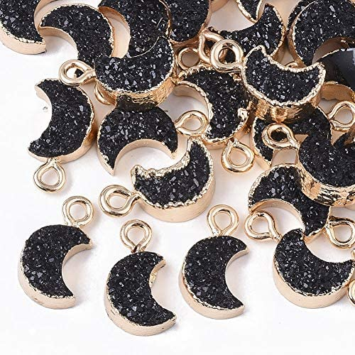 DanLingJewelry 50 pcs Gainsboro Druzy Resin Charms with Edge Light Gold Plated Moon Charms for Jewelry Making DIY Craft 24x15.5mm