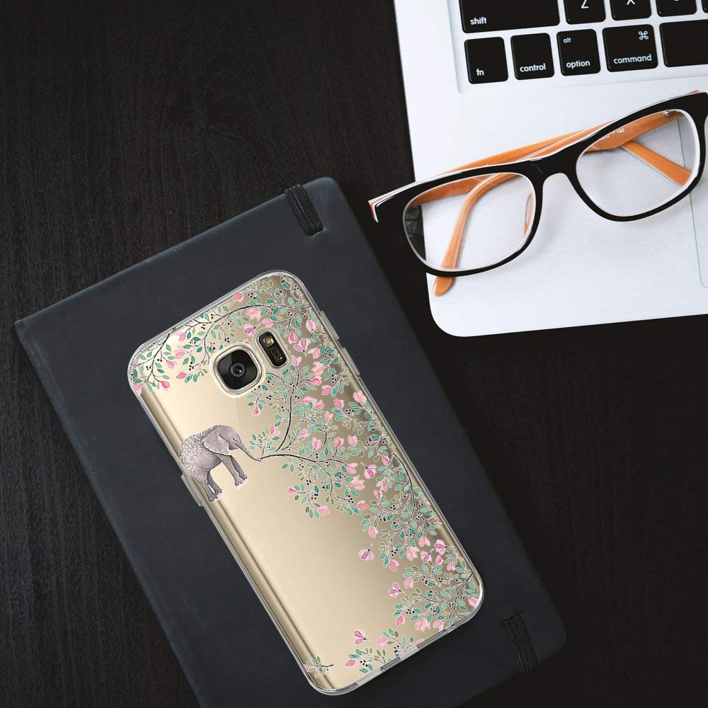 Case Compatible Samsung Galaxy S7 Case with Flower Slim Shockproof Clear Flexible TPU Cover for Samsung Galaxy S7