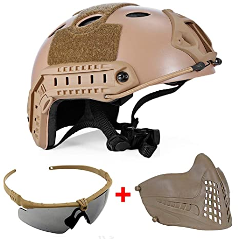 QZY Casco de Seguridad Airsoft, Casco Táctico Militar Paintball con Gafas y Máscara,Brown