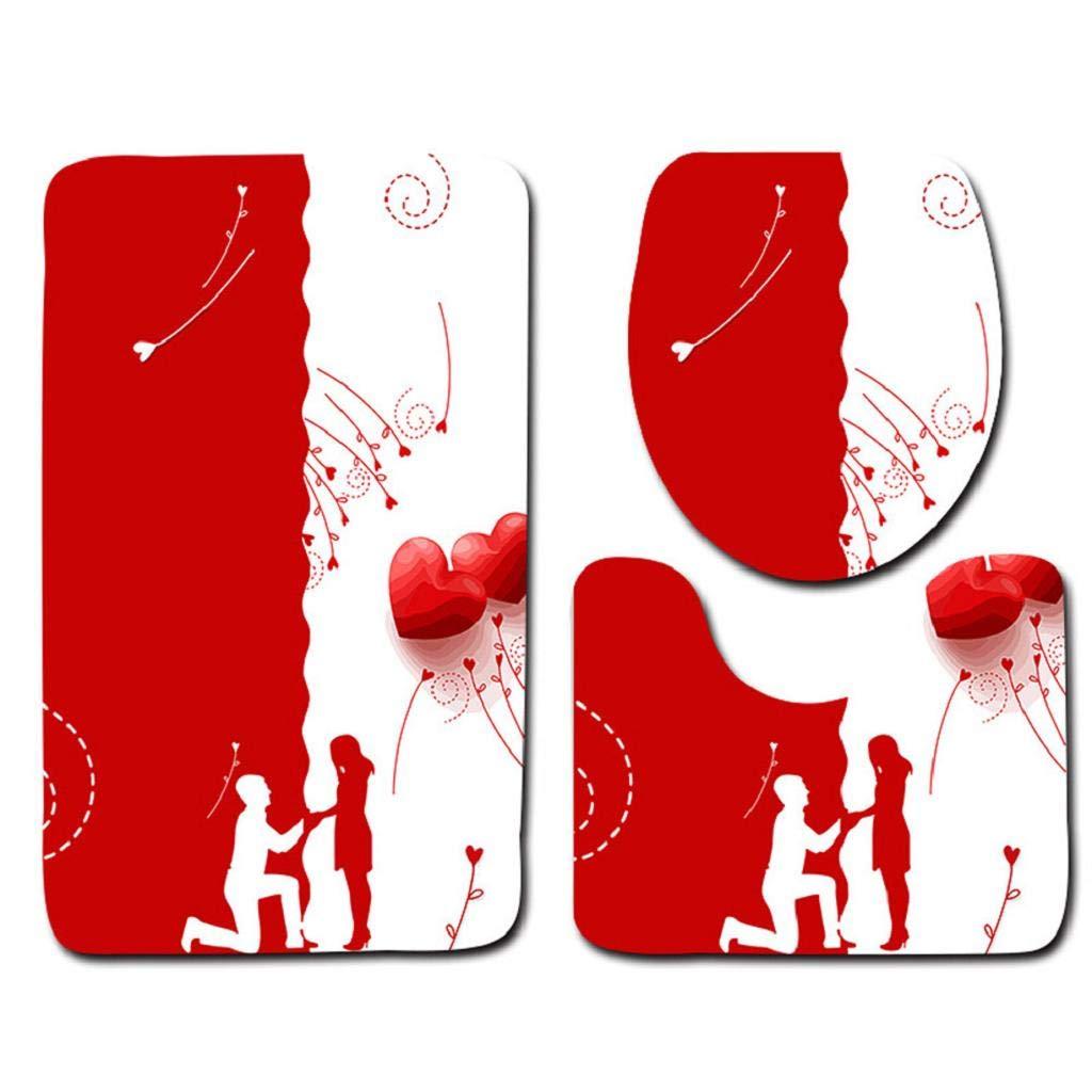 Bathroom Rugs MISYAA 3PC Valentines Heart Series Bath Rugs Kitchen Bathroom Rugs Modern New Home Decoration Ideas(D)