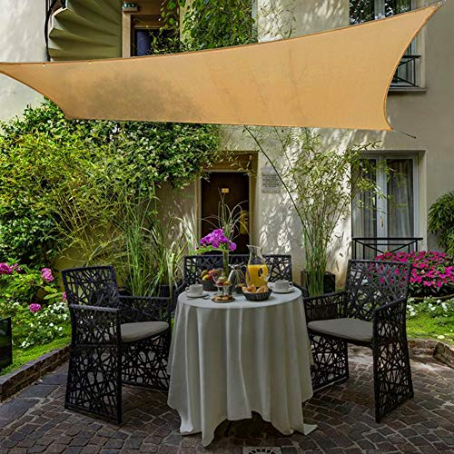 Shade&Beyond 10'x13' Rectangle Sun Shade Sail Sand Color for Patio Lawn Deck Garden Pergola