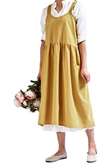 NREALY Dress Womens Square Cross Cotton Work Pinafore Casual Loose Solid Dresses