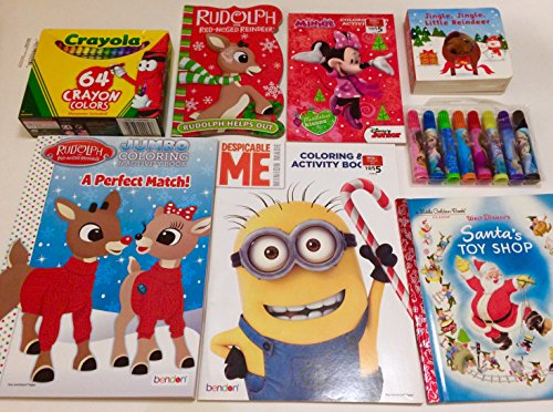Rudolph Santa Holiday Coloring Reading Activity Books 8Pce Bundle with Crayons (Frozen Sven Kids Reindeer Antlers)