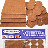 4x square & 24x round self adhesive felt floor protector pads by Dotty Deals