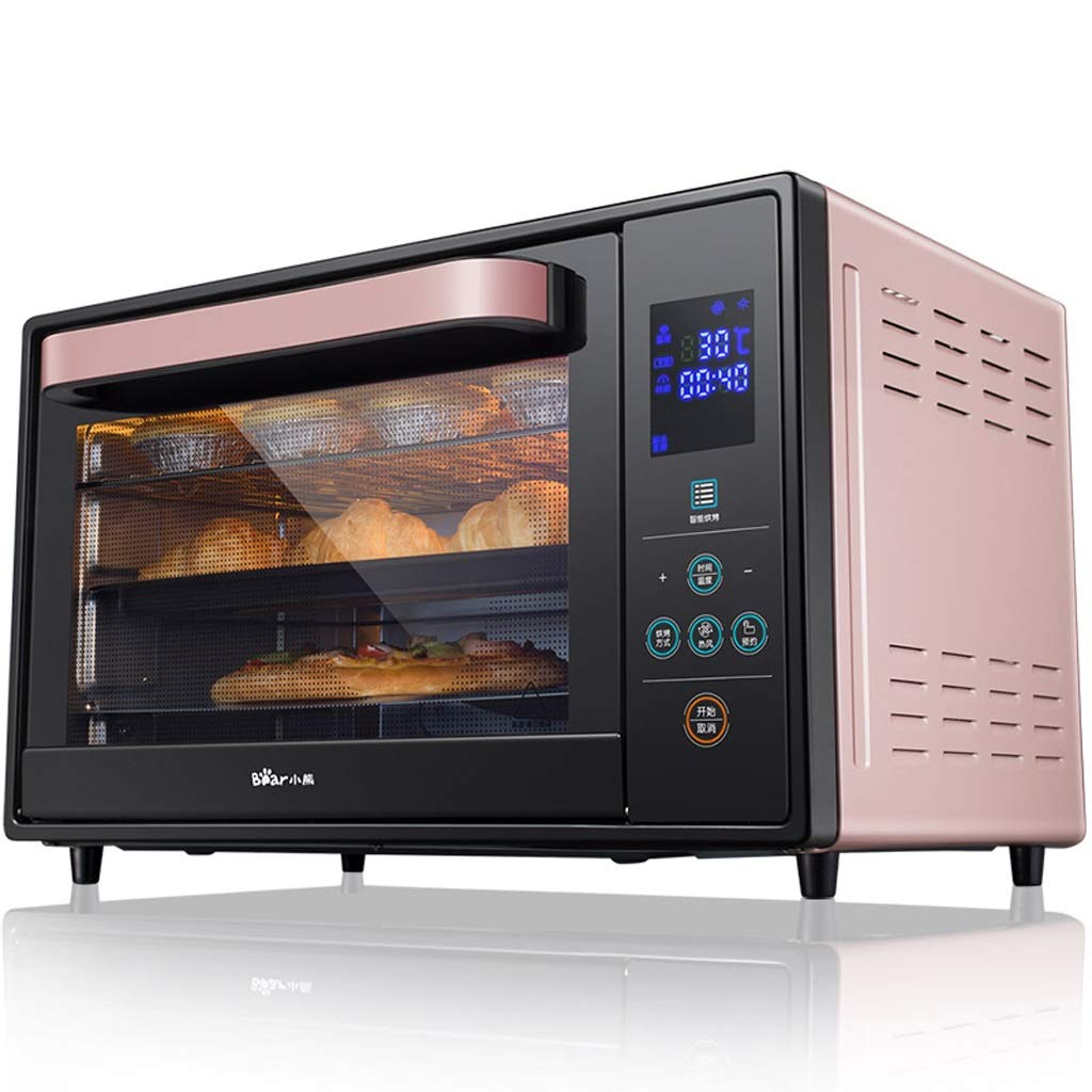 30L 3-layer Smart Oven, 1600W Convection Toaster Roaster Oven With Pot Holders, Countertop Oven Stainless Steel 6-Slice Bread, 12-Inch Pizza, Pink, Black