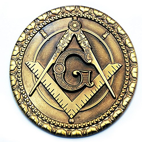 Square & Compass Round Antique Brass Masonic Auto Emblem - 3