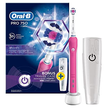 Oral B Pro 750 Pink - Cepillo de dientes con estuche de viaje, color rosa