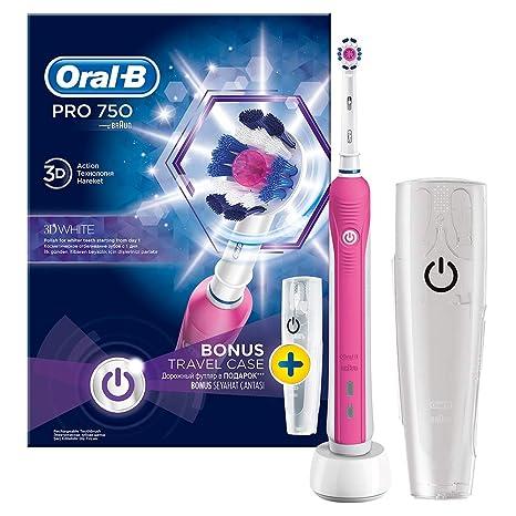 Oral B Pro 750 Pink - Cepillo de dientes con estuche de viaje, color rosa: Amazon.es: Salud y cuidado personal
