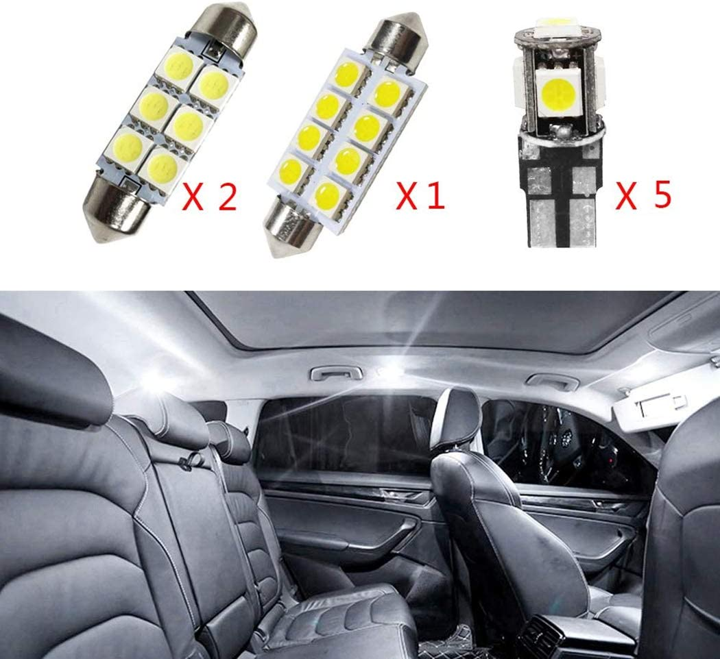 For Golf6 MK6 Golf7 MK7 LED Car Bulbs Reading lights Super Bright Car Interior Light Dome Map Side Courtesy Lamps Canbus Error Free Replacement Lights White 8Pcs
