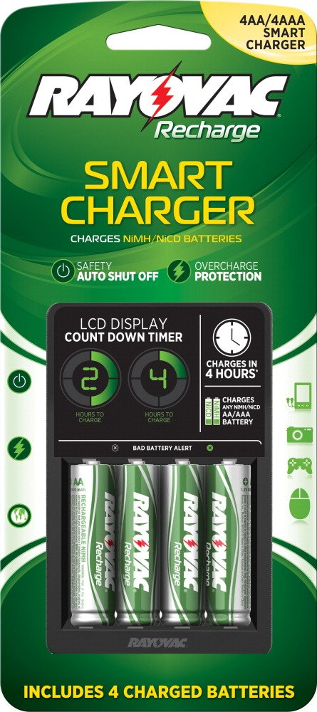 Rayovac PS332-4B LCD Smart Charger with 4 AA Nimh Low Self-Discharge Batteries