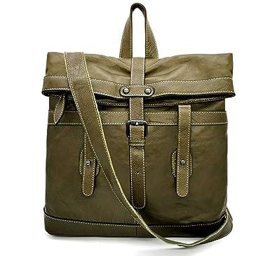 80c07c215 Amazon.com: La Poet Women's Genuine Leather 2-way Convertible Fashion  Backpack Tote Purse Shoulder Bag (Olive): Shoes