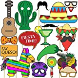 Blue Orchards Fiesta Photo Props (32 Pieces) for Photo Booths, Selfies, Great for Cinco De Mayo Themes, Day of the Dead Parties and More! Party Favors are Pre-Made (Not DIY) for Your Convenience!