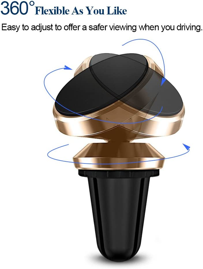 Magnetic Car Mount Holder Car Universal Mount Car Air Vent Mount 360 Rotate Magnetic Car Mount Bracket Phone Holder for iPhone X 8 7 6S 6 Plus,5,5s,4,Samsung Galaxy S7 Edge S6 Note 5 Gold