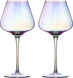 Red Wine Glasses - Lead Free Crystal Glass, 23 oz. Large Bowl, Long Stemmed Glassware - For Wine Tasting, Birthday, Anniversary or Wedding Gifts – Set of 2, Iridescent